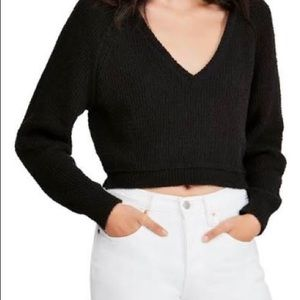 FREE PEOPLE V- Neck CROPPED SWEATER - BLACK